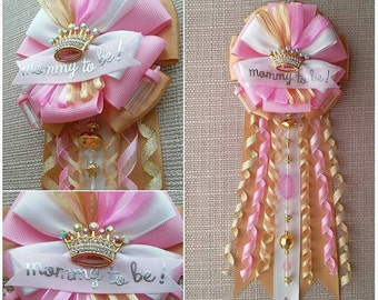 Princess Crown - Baby Shower Corsage - Pink and Gold