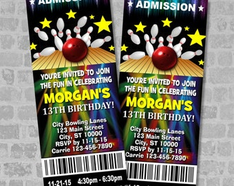 Bowling Birthday Party Ticket Invitation, Custom Bowling Party Ticket Invites, Digital Or Printed
