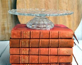Vintage Cut Glass Pedestal Cake Stand Plate Dessert Display