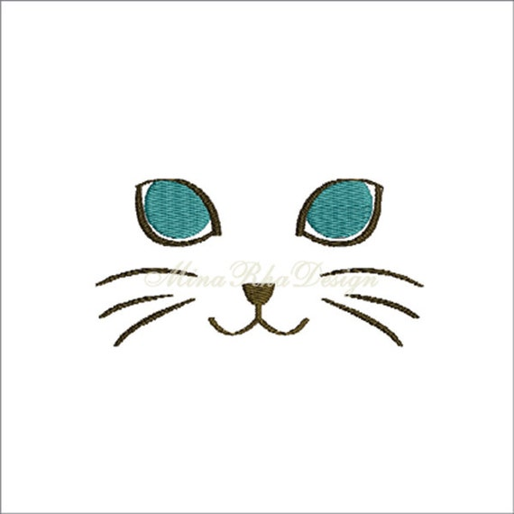 Kitty Cat Face Embroidery Design Instant Download