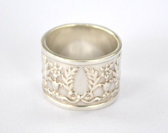 Eternal spring ring Sterling Silver wide band handmade in Australia Jules Read Jewellery