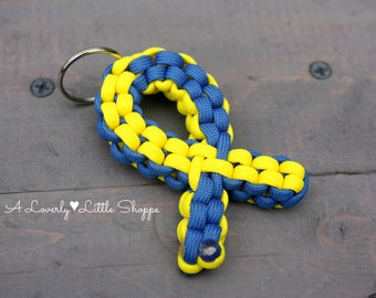 NEW AND IMPROVED! Down Syndrome Awareness Ribbon Paracord Keychain - Blue and Yellow Awareness Ribbon - Support Ribbon