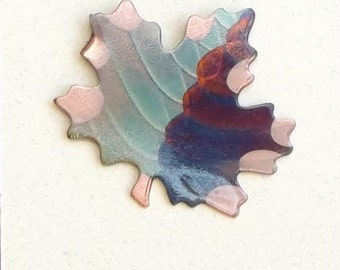 Flame painted copper Sm. Maple Leaf, pin