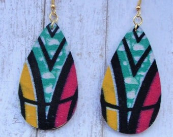 Colorful Geometric Earrings-African Inspired Earrings -African Fabric Earrings- Statement  Earrings -Teardrop-Bright Statement Earrings