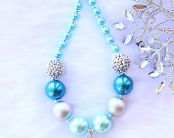 Blue Icequeen Snowflake Toddler Girls Christmas Winter Necklace