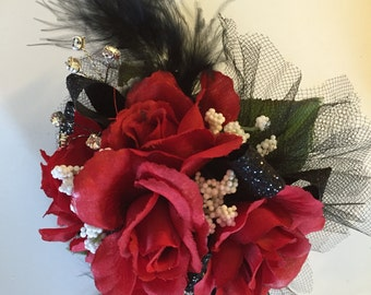 Black and Red Wrist Corsage, Prom Corsage, Wedding Corsage, Homecoming Corsage