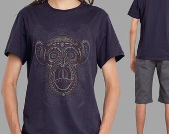 Sacred Geometry Tribal Monkey Shirt in Aubergine, Tribal Maori Tattoo, Trippy Shirt, Psychedelic, Yoga Shirt, Glow in The Dark