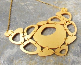 Gold Statement Necklace – Gold Necklace for Women – Statement Bib Necklace – Laser Cut Acrylic – Big Statement Necklaces – Gifts for Her