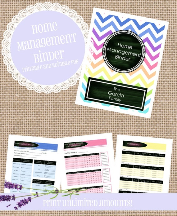 64 Page Home Management Binder EDITABLE And By