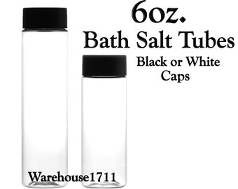 6oz. PET Clear Plastic Tubes| Bath Salt Tubes | Candy Tubes | Hot Chocolate Tubes | Your Choice: Black or White Cap