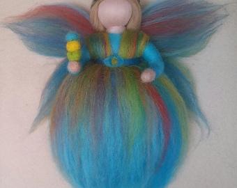 Wool fairy, Summer, Waldorf inspired, Seasonal table, Ideal gift. Needle felted wool