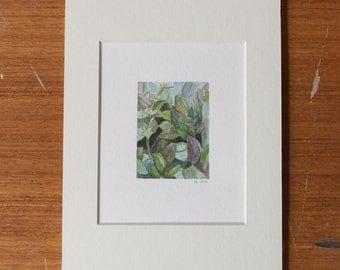 Small Green & Purple Botanical Watercolor
