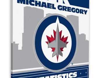 Winnipeg Jets Personalized Birth Announcement on Canvas - Baby Gift - Nursery Art
