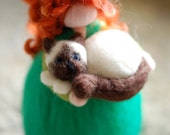 Girl & Cat, Wool fairy ta...