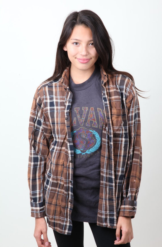 Flannel vintage brown black white plaid button up by evorags for Brown and black plaid shirt