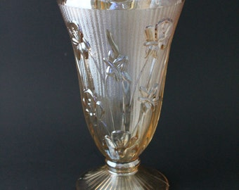 Large Vase, Iris and Herringbone Pattern,  Jeanette Glass Iridescent Amber Marigold Carnival Footed