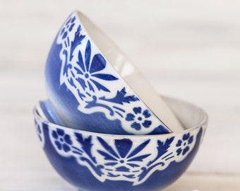 1940s Belgian Cafe au Lait Bowls - Shabby Chic White and Blue - Free Shipping Within the USA