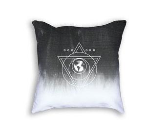 Black and White Pillow, Throw Pillows, Dip Dye, Sacred Geometry, Decorative Pillow, Dorm Decor, Modern Decor, Geometric Decorative Pillow