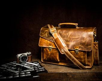Genuine Leather Mens Briefcase Laptop Business Bag
