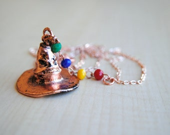 Sorting Hat Necklace -- Harry Potter Jewelry -- Hogwarts Houses -- Harry Potter Necklace -- Fandom Fashion -- Handmade Jewelry