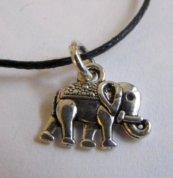 Elephant Charm On Wax Cord Yoga Jewellery Adjustable Unisex Free UK Shipping + Gift Bag CH1