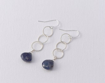 Sapphire Earrings Sapphire Faceted Tear Drop Earrings with Sterling Silver Chain