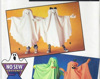 No Sew Ghosts costumes pattern in Boys' and Girls' sizes S-L Simplicity 0677/8648 UNCUT & FF (1993)  K0788