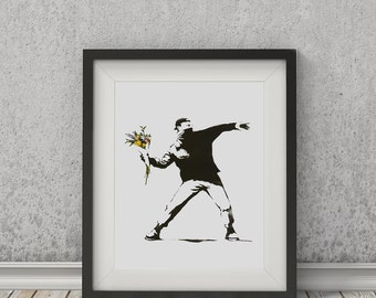 Flower Thrower (Portrait) by Banksy Art Print