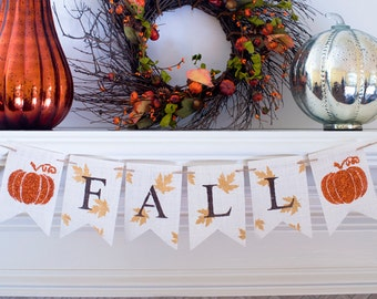 Fall Burlap Banner, Autumn Banner, Fall Decor,  Fall Leaves Pumpkin, B360