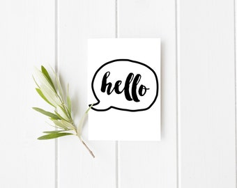 Hello Speech Bubble Card - Quote Card -  Just To Say Hello Card - Blank Greetings Card