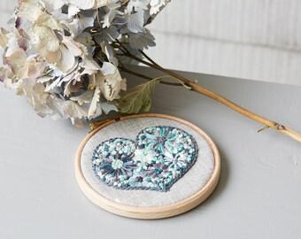 Green Heart Embroidery Hoop Art, Rustic Nursery Decor