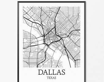 Dallas Map Art Print, Dallas Poster Map of Dallas Decor, Dallas City Map Art, Dallas Gift, Dallas Texas Art Poster