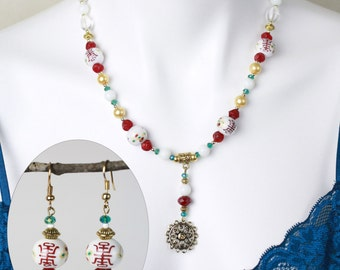 """Jewelry Set-Asian inspired beaded necklace (20"""") and matching earrings - #1007"""