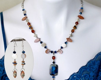 """Jewelry Set - Dainty beaded necklace (22"""") and matching drop earrings - #1008"""