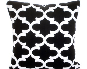 Black White Throw Pillow Covers, Cushions, Couch Pillows, Decorative Pillow, Moroccan, Bed Euro Sham, Throw Pillow, One or More All Sizes