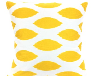 Yellow Decorative Throw Pillow Covers, Cushions, Corn Yellow White Chipper Ikat, Couch Pillows, Euro Sham, Cushions, One or More All Sizes