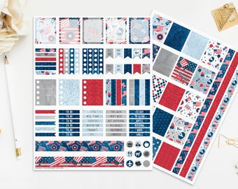 4th of July Printable Stickers, Independence Day Planner, Fourth of July EC, Patruiotic Navy Blue Red White, Seasonal Celebration Holiday