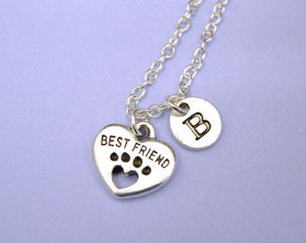 I Love My Dog Necklace - Sterling Silver Dog Pendant - Dog Medallion - Dog Paw Necklace, Gifts for Dog Lovers, Personalised Dog Necklace