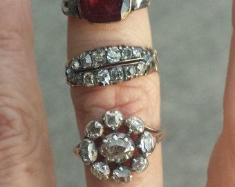 1740-60s  Georgian Garnet and Rosecut Diamond Ring