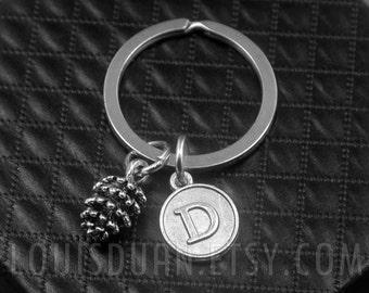 Pinecone Key chain -Pine cone Keychain -Initial Charm Keychain -Your Choice of A to Z