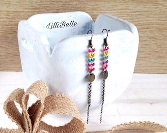 Chic bohemian earrings ear chain enameled brass