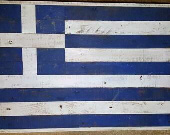 Rustic Greek National Flag (Wood)