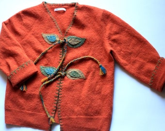 Sofia Sweater   Felted Wool Coat   Orange Jacket with Fall Leaf Applique and Embroidery   Girl's size 4-6   Upcycled Sweater  