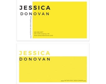 Yellow Minimalist Business Card Design - Scandinavian Business Card - Premade Business Card - Printable Business - Modern Calling Card