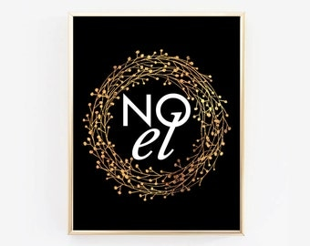 "NOEL Faux Gold Foil Wreath Printable Wall Art - Gold foil Affiche Joy Noel - Scandinvian Poster 11x14"",8x10"",A3"