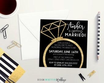 Bachelorette Party Invite | Black and Gold | Last Fling Before the Ring | Bridal Shower Invitation | Wedding Ring | Bachelorette Invite
