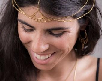Head Chain Jewelry, Gold Headpiece, Bridal Hair Chain, Tiara, Chain Headpiece, Boho Bohemian Tribal Gypsy Headchain