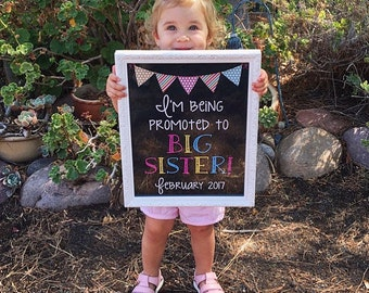 Printable Pregnancy Photo Prop / Baby Announcement - Chalkboard Sign - I'm Being Promoted To Big Sister - Digital Download / JPEG file
