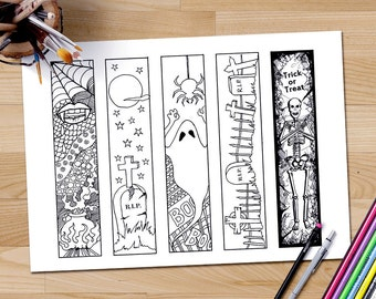 Halloween bookmarks adult coloring page, Halloween coloring book marks, printable bookmarks, bookmark color, diy paper crafts, Bookmarks art