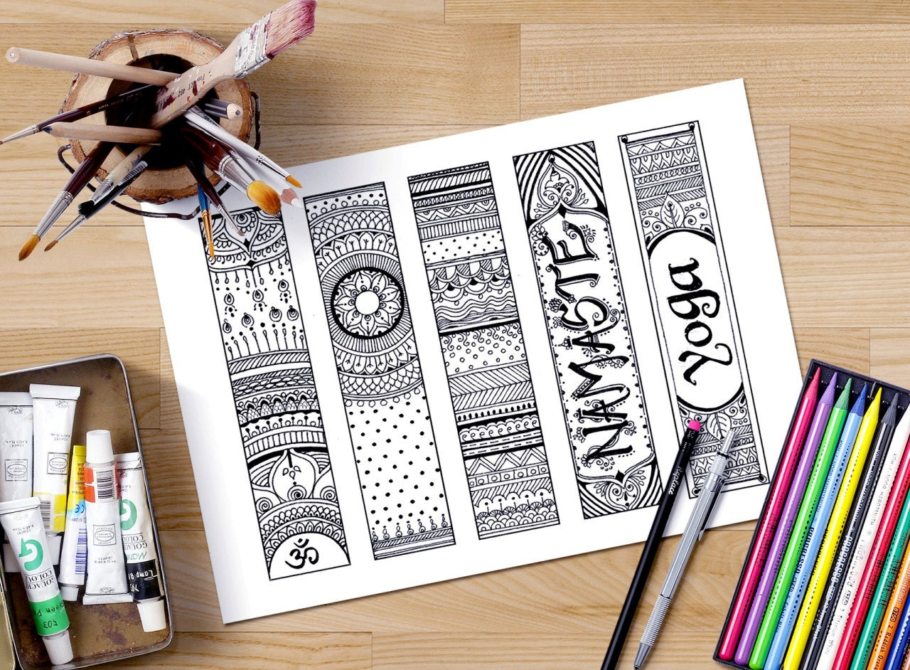 Bookmarks to color adults - Printable Bookmarks Coloring Om Bookmarks Zendoodle Bookmarks Adult Coloring Page Gifts For